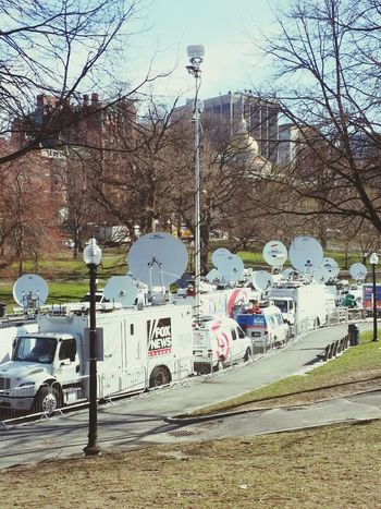 The media is out today on the Boston Common . Eye4photography  Street Photography Boston Marathon
