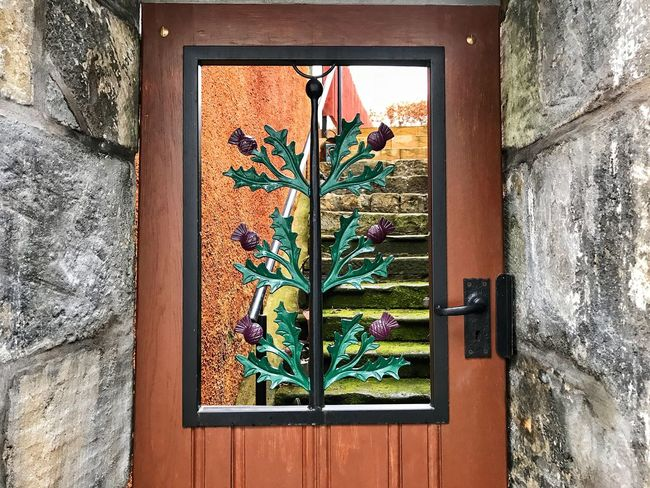 Door in Culross, Scotland Window Built Structure No People Plant Growth Architecture Day Leaf Nature Outdoors Building Exterior Flower Close-up Window Box Freshness