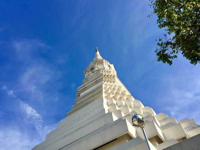 White big pagoda Architecture Low Angle View Sky Built Structure Building Exterior Religion Belief Building Place Of Worship Tree Spirituality Cloud - Sky Travel Destinations Nature Outdoors Blue No People Ornate Spire  Day