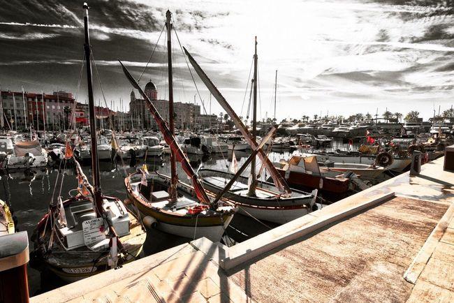 Fishing Boat Moored in the old Harbor of Saint Raphael Sea Sky Sailing Ship Nature Mediterranean  B&w