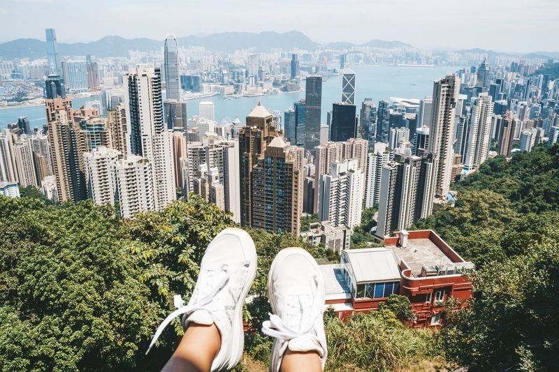 View from above on hong kong from victoria peak