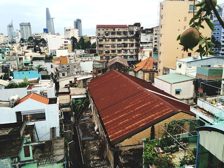 Vietnam Saigon Architecture Building Exterior Built Structure Roof Crowded Slum City Residential Building Cityscape High Angle View Outdoors Sky