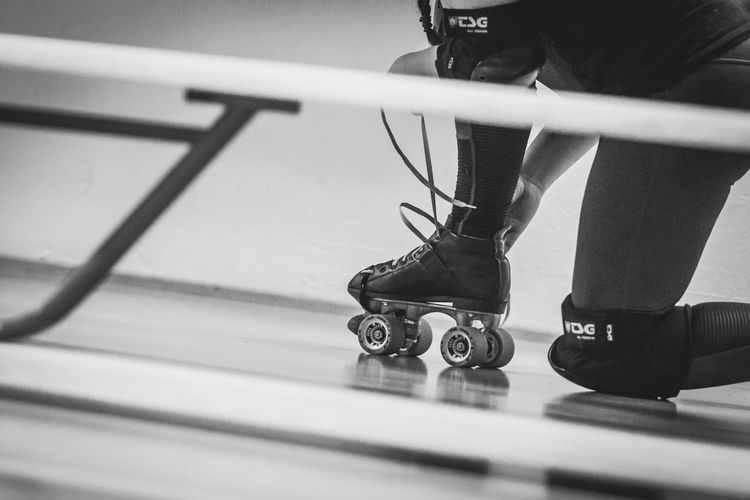 Quads Roller Derby Black And White Close-up Human Body Part Indoors  Low Section Roller Skating Sport