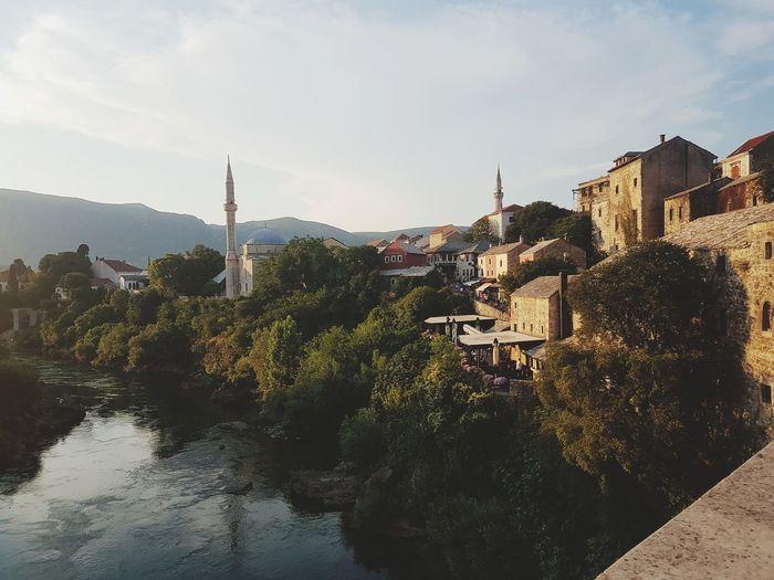 Neretva Nature Harmony Sunset Mostar Outdoors Sky Day Architecture Building Exterior City