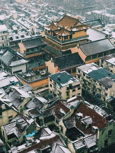 Snow falls in shanghai Winter Snow Covered Snow Shanghai Architecture Building Exterior Roof City Crowded High Angle View Cityscape