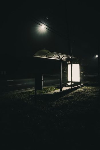 Lonely Bus Stop. || Night Illuminated Empty No People Grass Moody Nightphotography