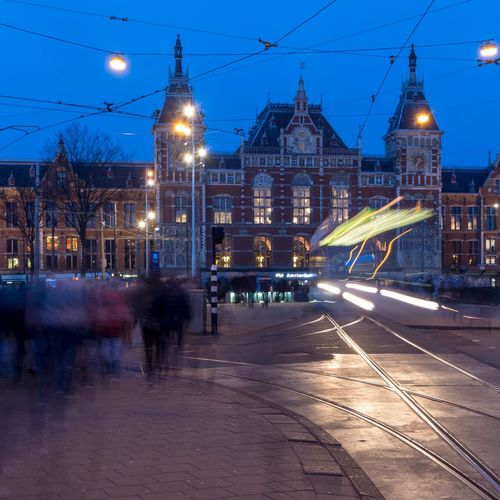 Movement Blue Hour City Movement Amsterdam Central Station Amsterdam CS Amsterdam Night Illuminated Long Exposure Light Trail Motion Sky Architecture Built Structure