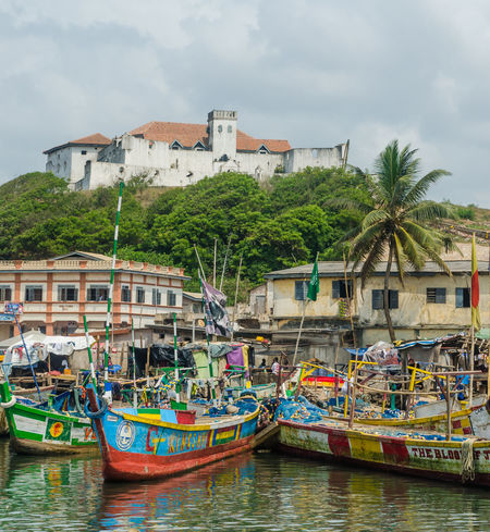 Castle Colonial Colonial Architecture Flags Fishing Boat African Ghana Africa Fishing Boats Harbor Harbour Elmina