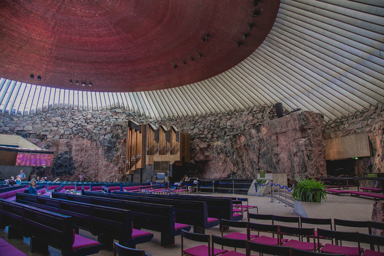 Church Helsinki Lutheran Church Place Of Worship Temppeliaukio Architecture Built Structure Chair Indoors  No People Seat Suomalainen