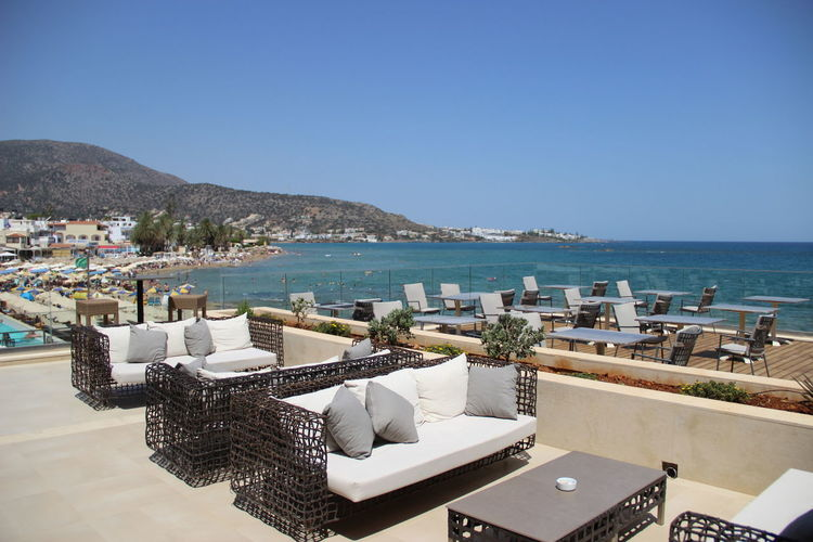 Aktia Hotel Crete Greece Crete Island Holiday Architecture Beach Beauty In Nature Chair Clear Sky Day Horizon Over Water Mountain Nature No People Outdoors Scenics Sea Sky Stalis Swimming Pool Tourist Resort Tranquility Vacations Water