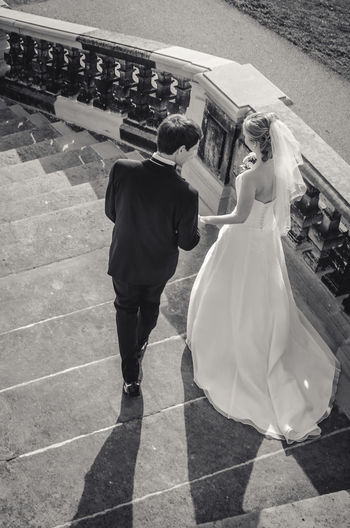 30th Best Day Blackandwhite Bride Couple Day Freedom Groom Leisure Activity Look Back Midlife Outside Stairs Sunlight Together Walk Wedding Wedding Photography
