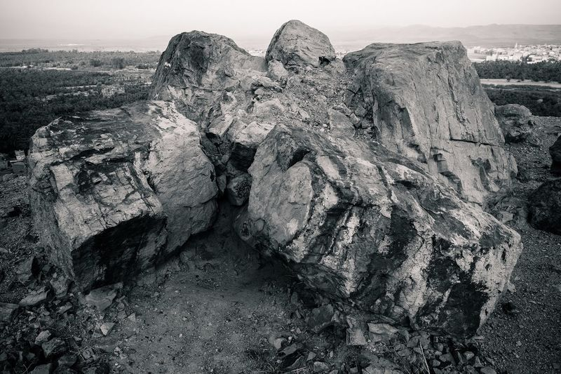 Panoramic shot of rock formation against sky