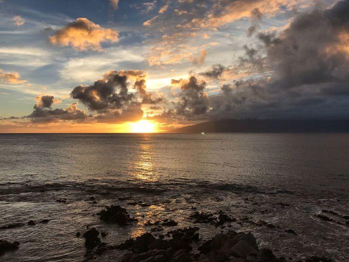 hawaii Maui sunset sky Molokai Sunset Sea Beauty In Nature Scenics Sun Sky Nature Water Tranquility Tranquil Scene Cloud - Sky Dramatic Sky Beach Horizon Over Water No People Idyllic Reflection Outdoors Wave Horizon