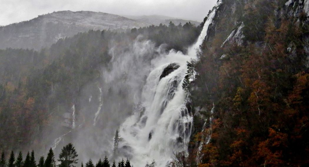 Beauty In Nature Day EyeEm Best Shots EyeEm Nature Lover Fog Forest Kvernhusfoss Long Exposure Mist Modalen Motion Mountain Nature Outdoors Power In Nature Rainy Days Scenics Sky Tranquil Scene Tree Water Waterfall Waterfall_collection Waterfalls Westernnorway