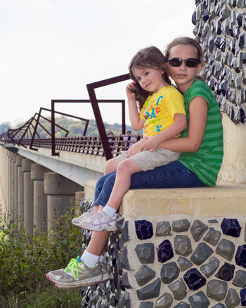 Went for a walk with a friend and his family on the High Trestle Trail today and took this photo of his daughters. Portrait Girls Sisters Olympus