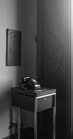 黒電話と装飾。Old Telephone & Ornamental Plants. Black And White Monochrome Light And Shadow Lines And Curves