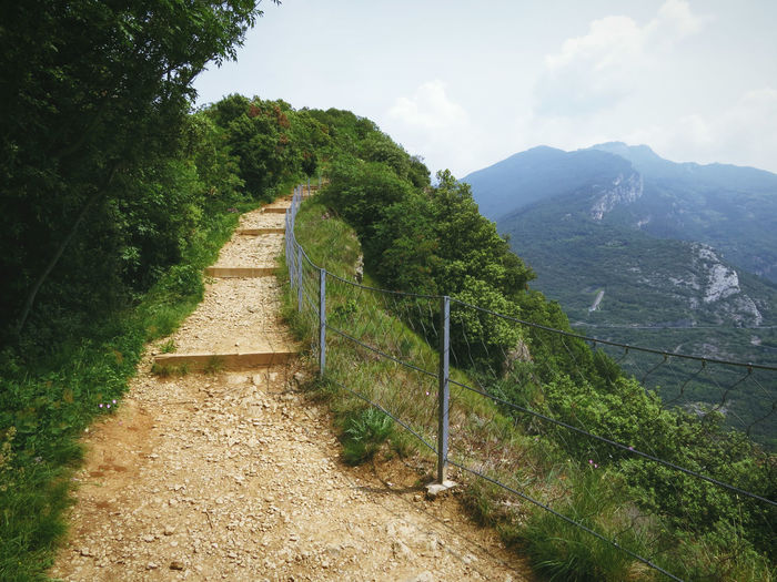 Steps Beauty In Nature Day Direction Footpath Green Color Hiking Trail Landscape Mountain Nature No People Outdoors Pathway Ridge Scenics - Nature Sky The Way Forward Tranquility
