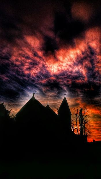 Churches Of Wales Sun Sky Clouds Sillouette Sky Silhouette Sky Porn Trees And Sky Skyporn Sunset Silhouettes Sunset_collection Sunset #sun #clouds #skylovers #sky #nature #beautifulinnature #naturalbeauty #photography #landscape Wow That's So Cool !! Gothic Beauty  Churchporn When Night Falls For My Friends That Connect Popular Photos Fairytales & Dreams Fire In The Sky