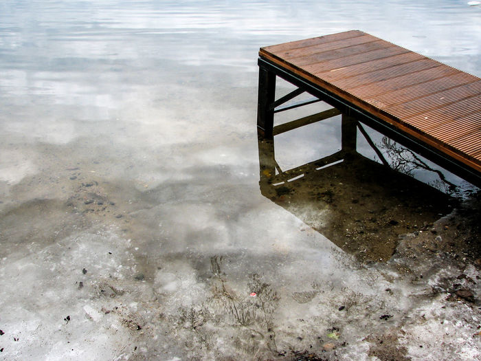 Close-Up Of Pier On Frozen Lake