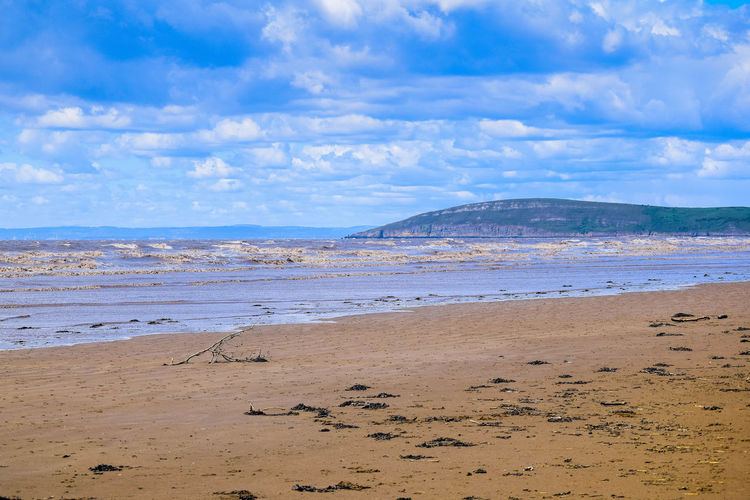 Sky Land Beach Scenics - Nature Sea Nature Beauty In Nature Beach Photography Horizon Over Water Day At The Beach Sand Sea And Sand Leading Lines Blue Sky Space For Text Space For Copy Brean Down Water Cloud - Sky Tranquility Tranquil Scene Non-urban Scene No People Idyllic Blue Outdoors Horizon