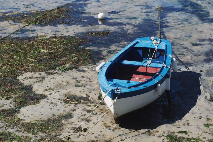 Beach Beauty In Nature Day Ebb And Flow High Angle View Land Luxury Mode Of Transportation Moored Nature Nautical Vessel No People Outdoors Rope Rowboat Sand Sea Sunlight Transportation Travel Water