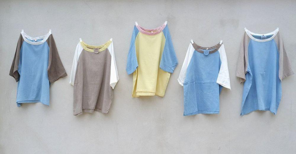 Baseball Shirts We Got Today Blue Coathanger Day Drying Ebony Dye Handmade Hanging Indigo Multi Colored Natural Dye No People Outdoors First Eyeem Photo