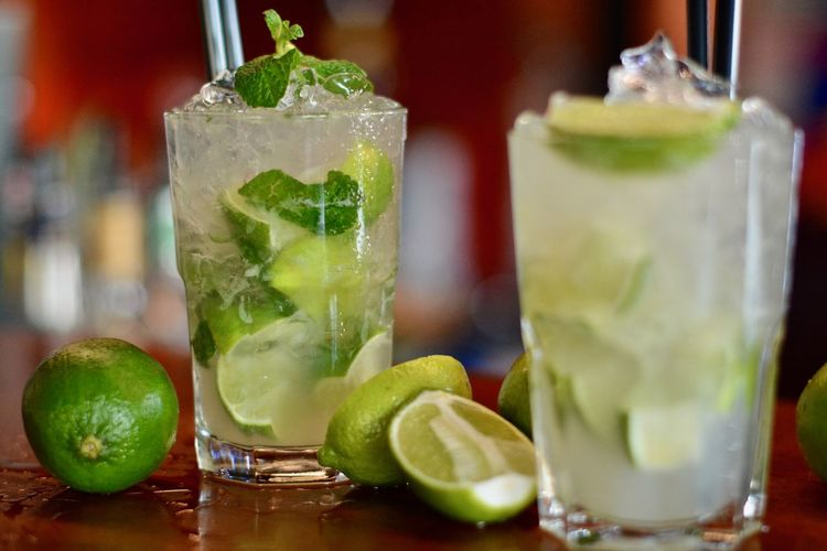 Close-Up Of Mojito Drinks