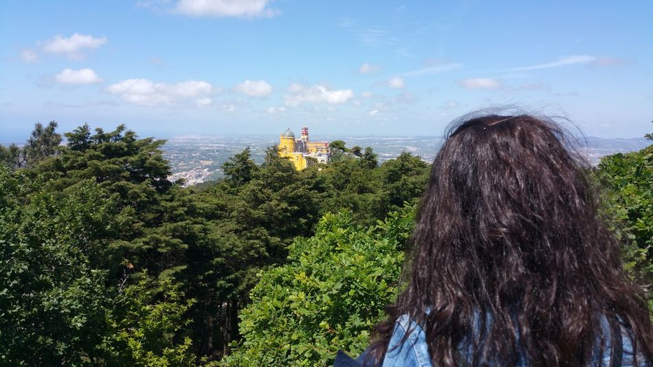 Just Beautiful  High Point Of View Blue Sky Sintra Palace Park Lisbon In The Back