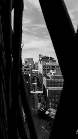 New York City Architecture Blackandwhite Bridge View Building Exterior Built Structure City Cityscape Diminishing Perspective Fence Light And Shadow Window