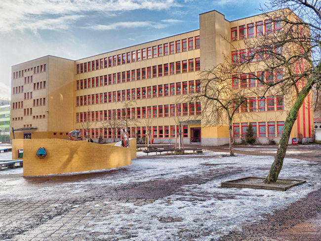Bruno-Bettelheim-Grundschule Building Exterior Architecture Built Structure No People School Schule Grundschule Elementary School DDR-Architektur Socialistmodernism Socialist Architecture Ostberlin East Berlin, Gdr Architecture Marzahn Plattenbau Concrete Architecture HDR First Eyeem Photo
