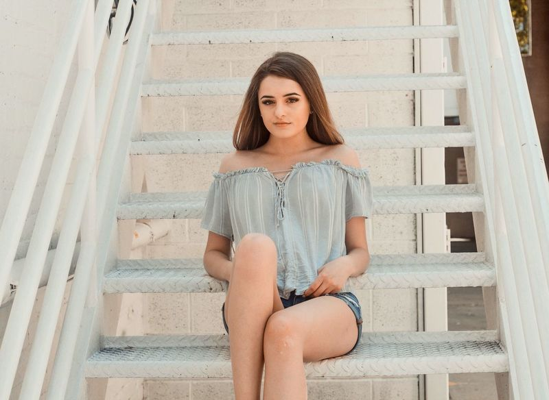 Aesthetic Aesthetics Staircase Steps Beautiful Woman One Person Portrait Outdoors Summer ☀ Summer Lightroom Editing