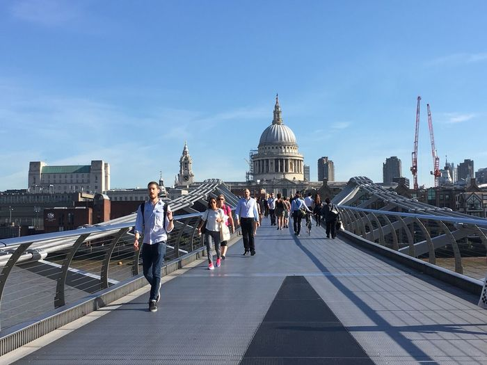 Blue London St Paul's Cathedral Milennium Bridge River Thames Architecture Sky Sky And Clouds