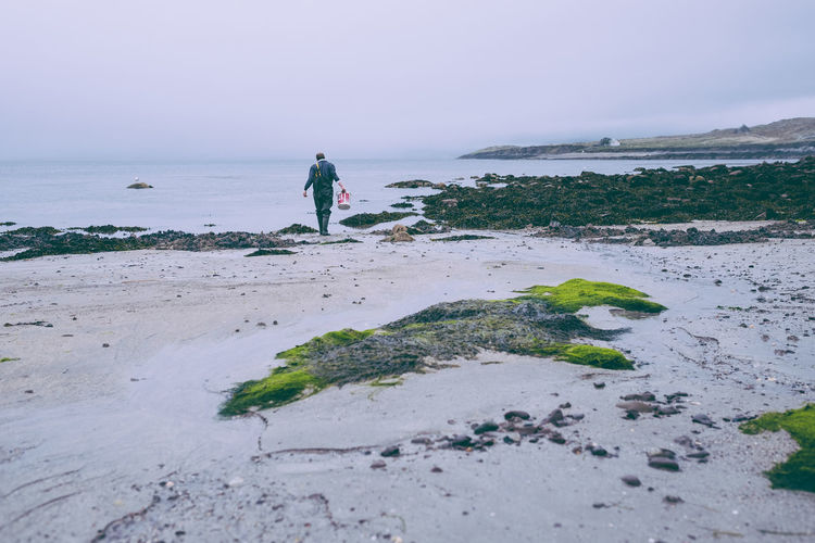 Ireland Adult Adults Only Beach Beauty In Nature Day Fisherman Full Length Horizon Over Water Nature One Person Outdoors People Real People Ring Of Kerry Sand Scenics Sea Sky Standing Tranquility Water Women