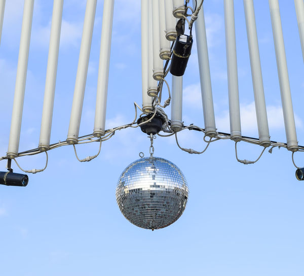 Blue Chain Close-up Day Disco Ball Hanging Low Angle View Metal No People Outdoors