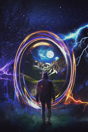 A man stepping into a fantasy world through a portal artwork Boots Jeans Trees Vivid Winter Adventure Energy Fantasy Guy Jacket Lightning Magic Meadow Mist Moonshine Mountains Night Portal Ring Scifi Snow Thunder Unreal Walking World First Eyeem Photo