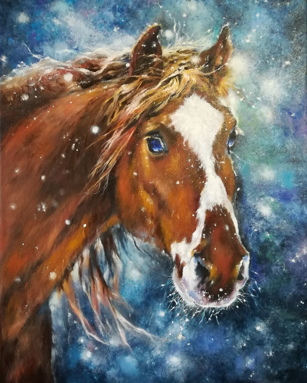 CLOSE-UP OF A HORSE IN WINTER