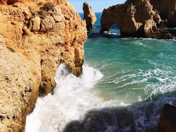 Ponta Da Piedade Lagos Ponta Da Piedade Lagos Algarve Rock - Object Sea Rock Formation Nature Beauty In Nature Cliff Water Geology Outdoors No People Scenics Travel Destinations Day Power In Nature
