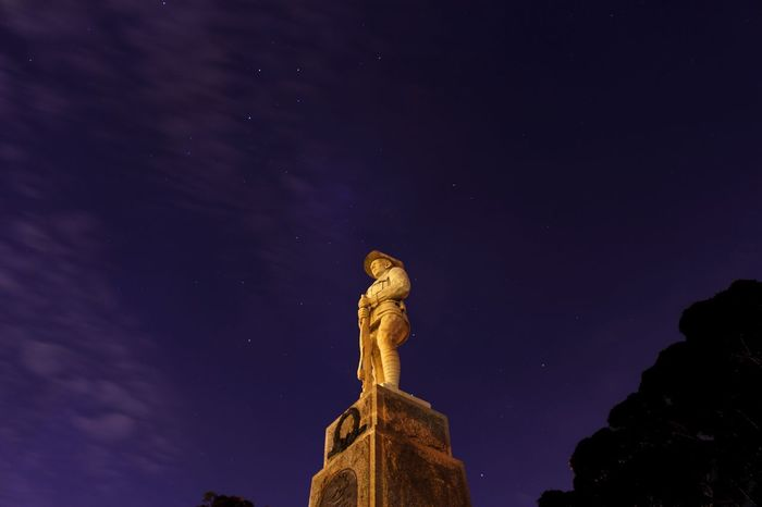 Astronomical heroes Night Statue Star - Space Sculpture Human Representation Sky Low Angle View No People Star Field Outdoors Astronomy Illuminated Beauty In Nature Galaxy Nature Milky Way War Memorial Australia Lestweforget Purple Photography Photooftheday Canon 700D
