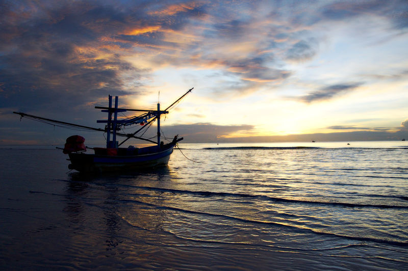 Asian  THAILANND Beauty In Nature Cloud - Sky Evening Fishing Boat Fishing Industry Horizon Over Water Idyllic Nature Nautical Vessel Orange Color Outdoors Sailboat Scenics - Nature Sea Sky Sunrise Sunset Tranquil Scene Tranquility Transportation Water Waterfront