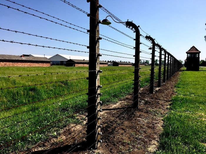 Human Right Auschwitz  Sky Nature Field Technology Plant Fence Protection No People