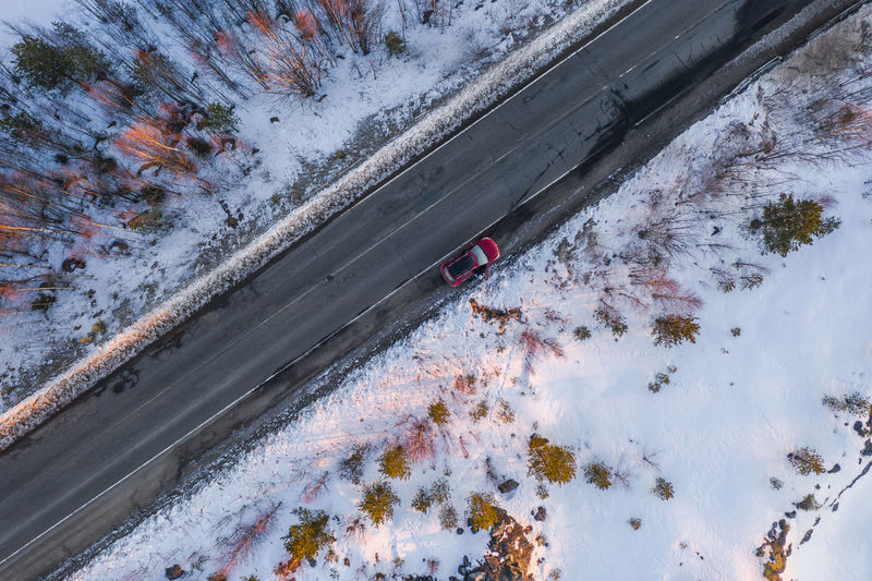 High angle view of snow covered plants by car