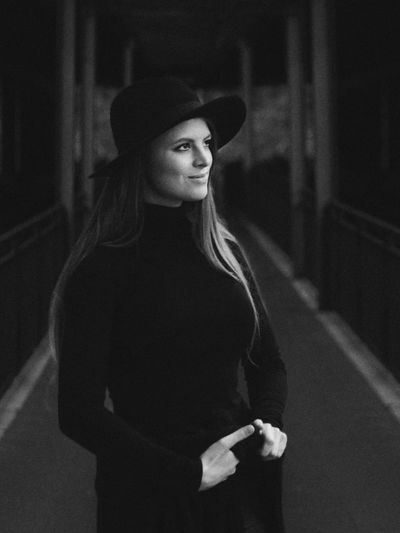 Forever Bnw Black And White Portrait Photography Portrait Of A Woman Beautiful Black Detail Streetphotography Outdoors Love Woman Face Young Women Portrait Women Looking At Camera Hat Monochrome