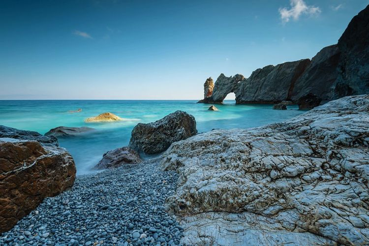 Blue Lagoon Landscape Tide By The Sea Coastal Rocks And Water Blue Sea Sea And Sky Seascape Long Exposure Landscape_Collection Greek Greece Skiathos Rocks And Water Turquoise Blue Sea Sea Water Sky Rock Beach Land Rock - Object Rock Formation Horizon Over Water Blue The Great Outdoors - 2019 EyeEm Awards