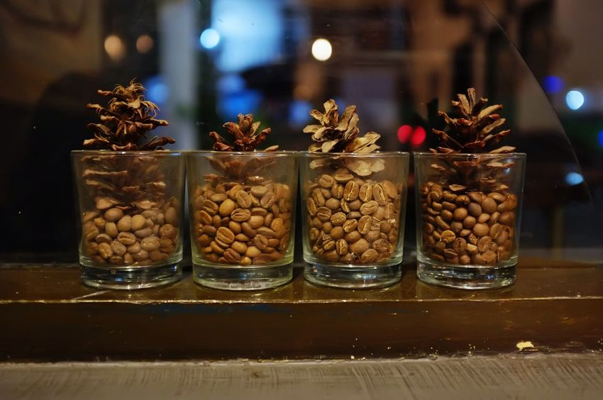 Beans Coffee Decor Close-up Coffee Bean Food Food And Drink Freshness Glass Glass - Material Healthy Eating Indoors  Indoors  Night No People Nut - Food Pine Cone Roasted Roasted Coffee Bean Simplicity Variation