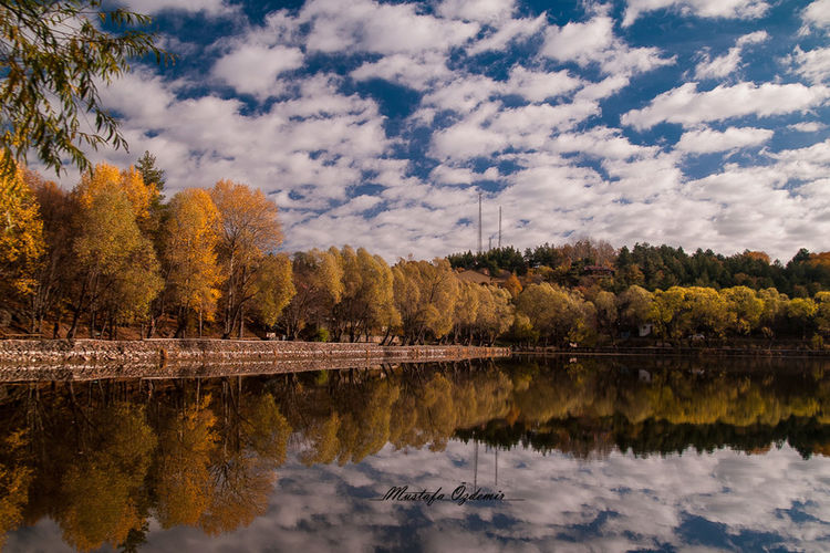Autumn Beauty In Nature Blue Calm Change Cloud Cloud - Sky Day Lake Majestic Nature No People Non-urban Scene Outdoors Reflection Scenics Sky Standing Water Surrounding Tourism Tranquil Scene Tranquility Tree Water Waterfront