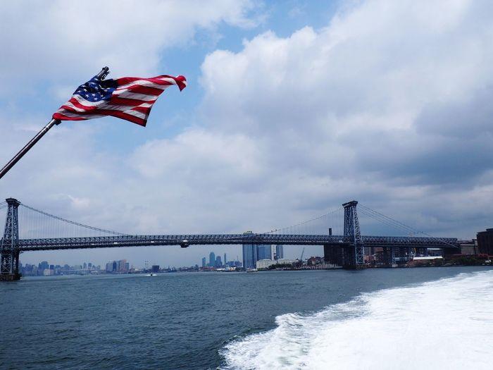 Hudson River cruising. Hudson River Newyork Newyorkcity America American Flag