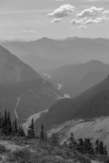 Mount rainier national park in washington state, view of the nisqually river valley from paradise
