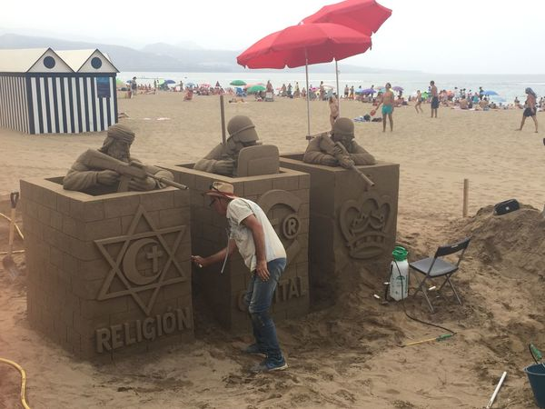 Doubting society in sand. Artists in Las Palomas Artists Bohemian Canarias Dunes Gran Canaria Las Palmas Rethink Things Beach Beachlife Full Length Horizon Over Water Men One Person Real People Sand Sand Pail And Shovel Sand Pictures Sea Shore Summer Sunny Day Tenerife Vacations Vibe