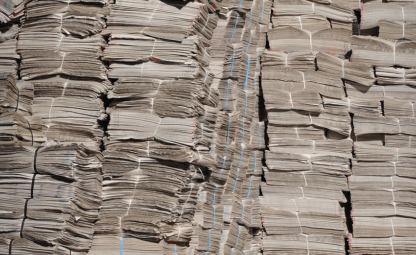 Full frame shot of stacked papers