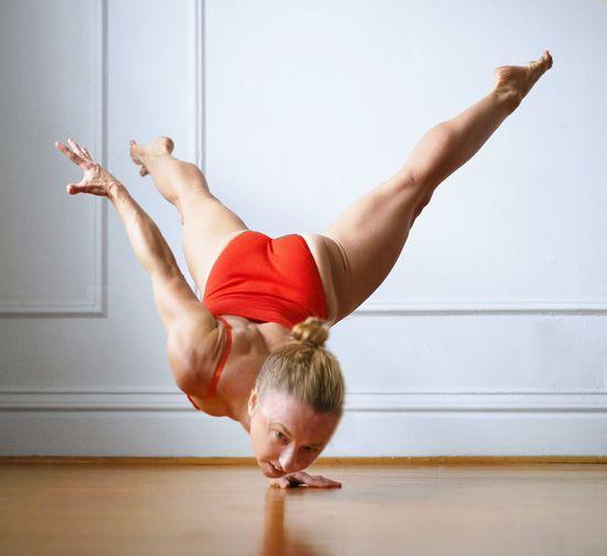 Legs of woman performing stunt